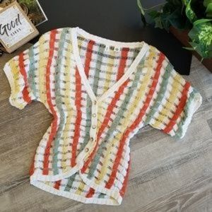 MOTH Anthro Open Knit Striped Button Cardigan LG